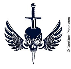 Skull killed by a dagger knife with wings vintage vector ...