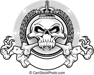 vector illustration skull with crown and ribbon