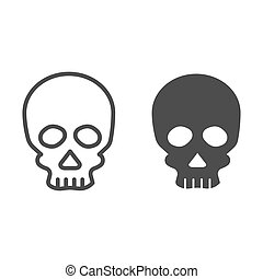 Skull line and solid icon. Deadman scary skeleton head. Halloween party vector design concept, outline style pictogram on white background.