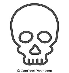 Skull line icon. Deadman scary skeleton head. Halloween party vector design concept, outline style pictogram on white background.