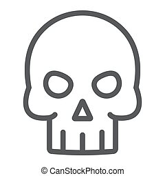 Skull line icon, halloween and death, skeleton sign, vector graphics, a linear pattern on a white background, eps 10.