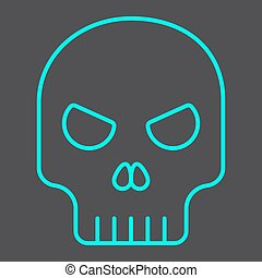Skull line icon, halloween and scary, dead sign vector graphics, a linear pattern on a black background, eps 10.