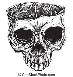 Skull line work vector for use.