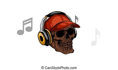 skull listening to music with headphones - black skull...