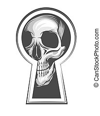 Skull Looks Through Keyhole Tattoo