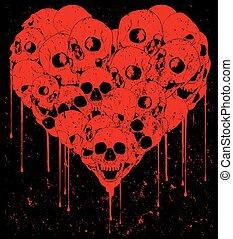 Skull love vector