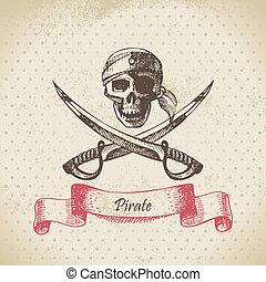 skull., mão, pirata, ilustração, desenhado