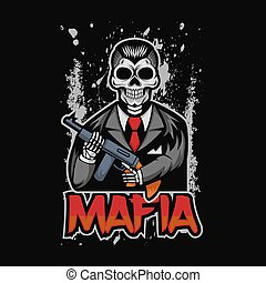 skull mafia vector illustration