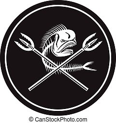 Skull Mahi Mahi Dolphin Fish Crossed Spears Circle Retro -...