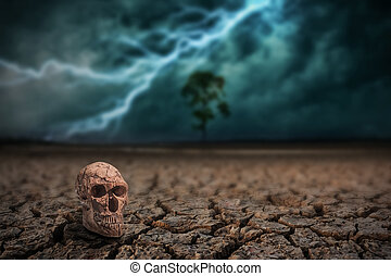 Skull man on land to the ground dry cracked and big tree. With lightning storm