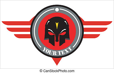 skull mask over winged red shield.