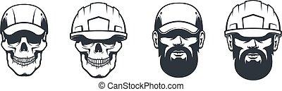 Skull mechanic in cap and hardhat