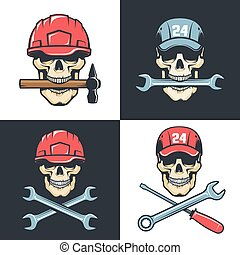 Skull Mechanic Repairman with tools - retro logo