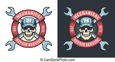 Skull mechanic with wrench and ribbon - vintage logo. Auto ...