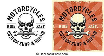 Skull mechanic with wrench in teeth vector emblem