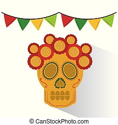 skull mexican flower decoration garland colors