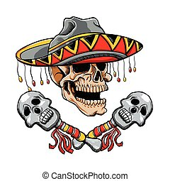 Skull Mexican style with sombrero and maracas