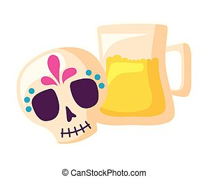 skull mexican with jar beer isolated icon