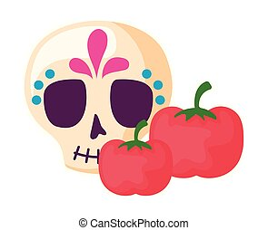 skull mexican with tomatoes isolated icon