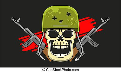Skull Military Helmet. Theme Of The Army On A Dark Background.
