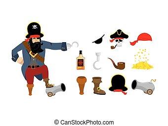 skull., moedas., olho, piratas, ouro, rum, madeira, canhão, set., hat., remendo, garrafa, pipe., ossos, fumar, pirata, foot.