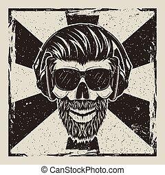 Skull music hipster vector vintage grunge design