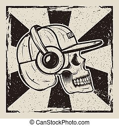 Skull music side view vector vintage grunge design