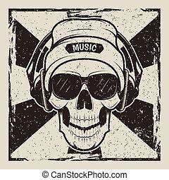 Skull music vector vintage grunge design