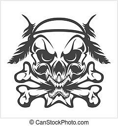 Skull Native American and crossbones - isolated on white