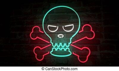 Skull neon icon on brick wall - Skull and bones neon symbol...