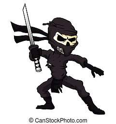 skull ninja cartoon.