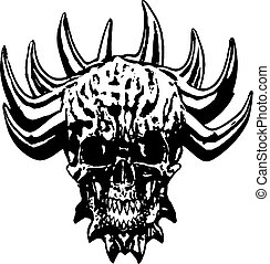 Skull of a demon with crown of thorns. Vector illustration.