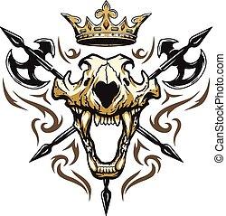 Skull of a lion crown heraldic emblem.