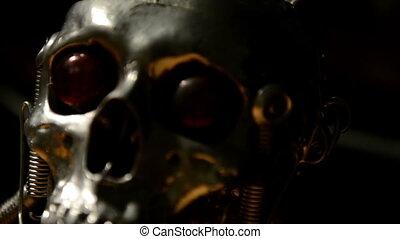 Skull of a terminator sliding closeup