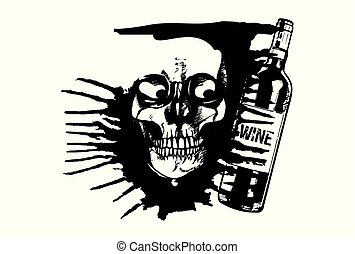 alcoholic - Skull of an alcoholic man and a wine bottle