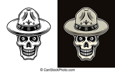 Skull of boy scout in hat two styles vector