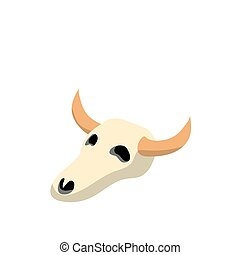 Skull of Cow flat icon isolated on white background. Vector Illustration.