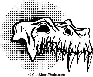 Skull of danger beast with huge fangs.