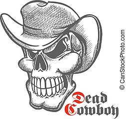 Skull of dead cowboy in hat sketch symbol