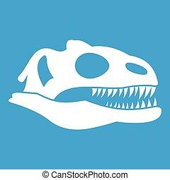 Skull of dinosaur icon white isolated on blue background...