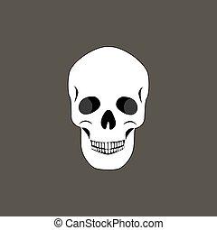 Skull of Human Organism Black Vector Illustration - Skull of...