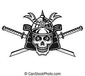 Skull of japanese samurai and two swords vector