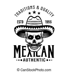 Skull of mexican bandit in sombrero vector emblem, badge, label or logos in monochrome vintage style isolated on white