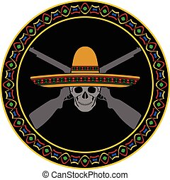 skull of mexican warrior. second variant. vector...