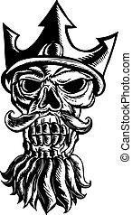 Skull of Neptune Sratchboard - Scratchboard style...