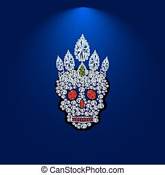 Skull of precious stones.eps