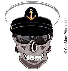 Skull of the person in service cap of the captain of the ...