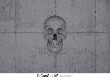 Skull on a wall of concrete - A skull on a wall of concrete...