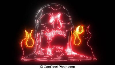 Skull on Fire with Flames digital video