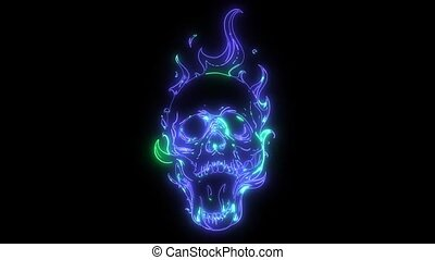 Skull on Fire with Flames laser animation